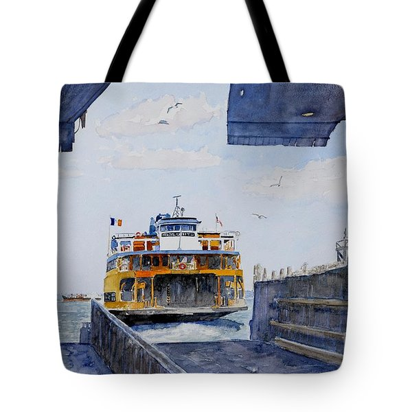 Staten Island Ferry Docking Tote Bag by Anthony Butera