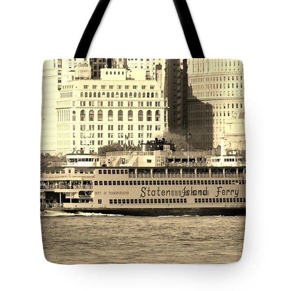 Staten Island Ferry In Sepia Tote Bag