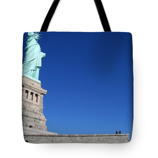 Statue And Sky Tote Bag by Katie Beougher
