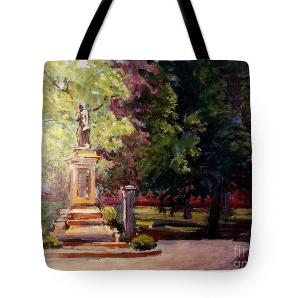 Statue In  Landscape Tote Bag
