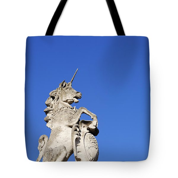 Statue Of A Unicorn On The Walls Of Buckingham Palace In London England Tote Bag