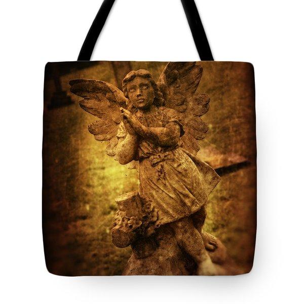 Statue Of Angel Tote Bag by Amanda Elwell