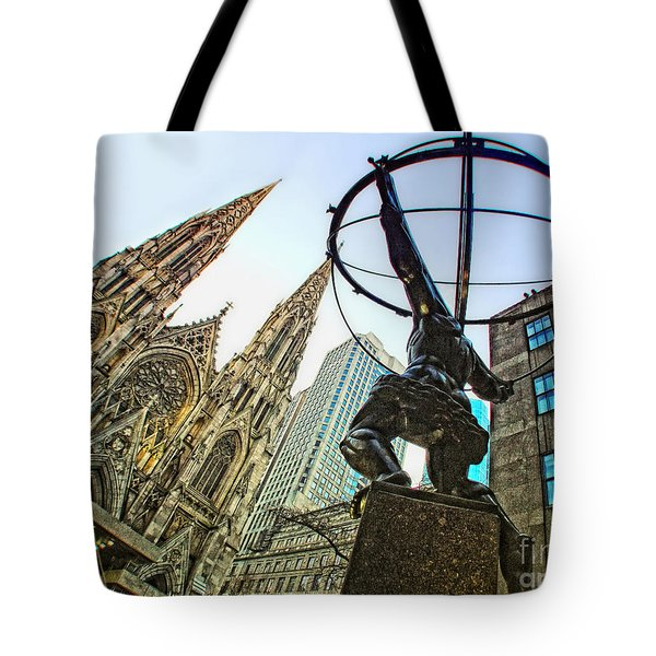 Statue Of Atlas Facing St.patrick's Cathedral Tote Bag by Nishanth Gopinathan
