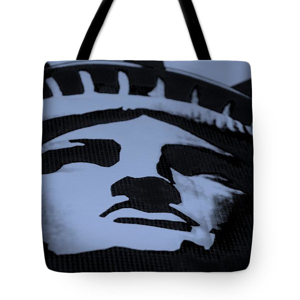 Statue Of Liberty In Dark Cyan Tote Bag by Rob Hans