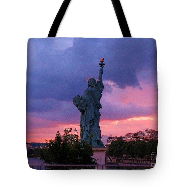 Statue Of Liberty In Paris Tote Bag by John Malone