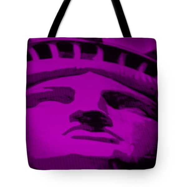 Statue Of Liberty In Purple Tote Bag by Rob Hans