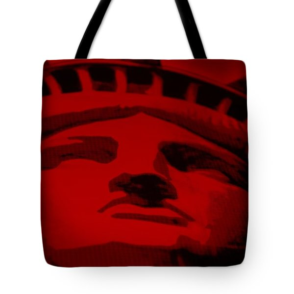 Statue Of Liberty In Red Tote Bag by Rob Hans