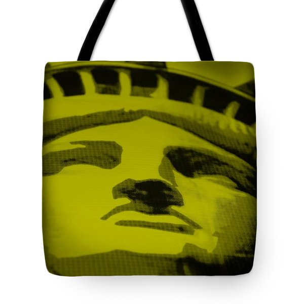 Statue Of Liberty In Yellow Tote Bag by Rob Hans