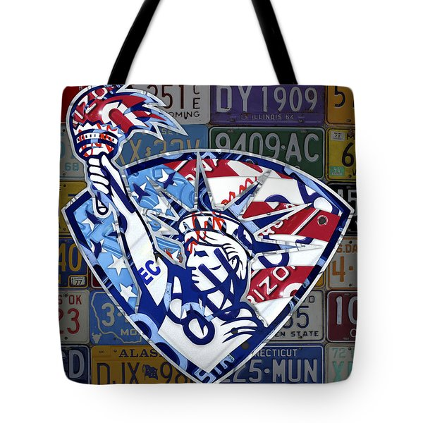 Statue Of Liberty On Stars And Stripes Flag Background Recycled Vintage License Plate Art Tote Bag