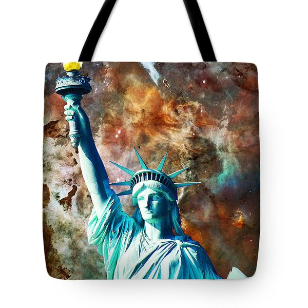 Statue Of Liberty - She Stands Tote Bag by Sharon Cummings