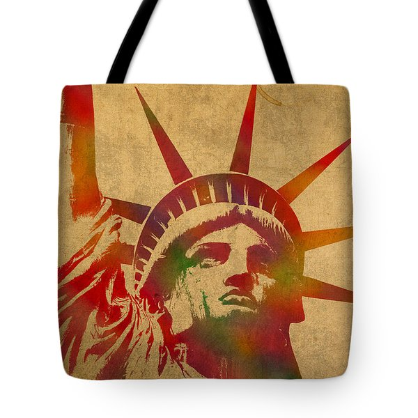 Statue Of Liberty Watercolor Portrait No 2 Tote Bag by Design Turnpike