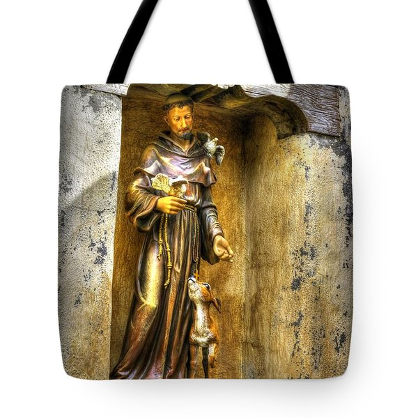 Statue Of Saint Francis Of Assisi - Alcove In The Gardens Of The Carmel Mission Tote Bag