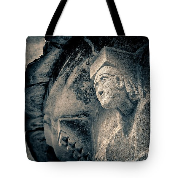 Statue On A Romanesque Church In Auvergne Tote Bag