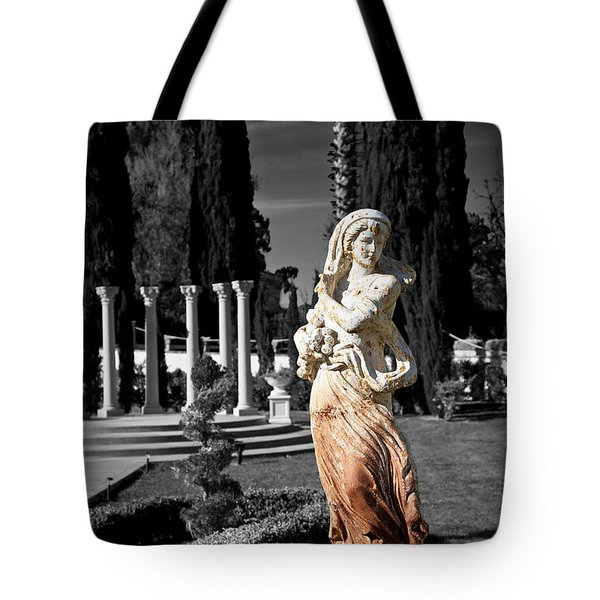 Statue On Mansion Tote Bag