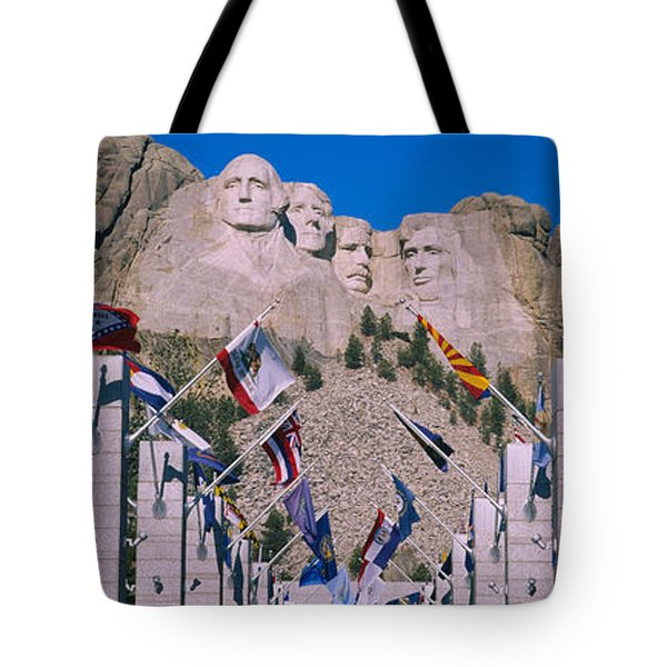 Statues On A Mountain, Mt Rushmore, Mt Tote Bag by Panoramic Images