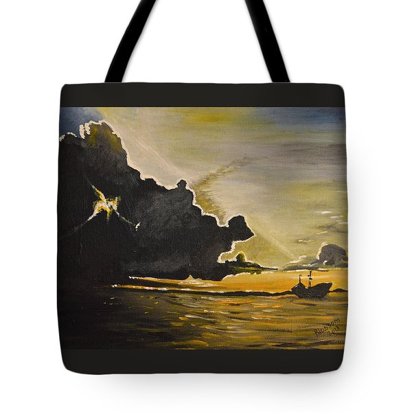 Tote Bag featuring the painting Staying Ahead Of The Storm by Donna Blossom