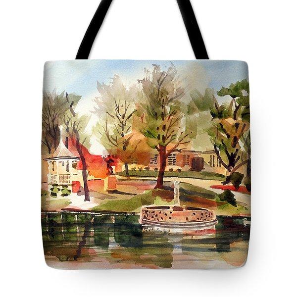 Ste. Marie Du Lac With Gazebo And Pond I Tote Bag by Kip DeVore
