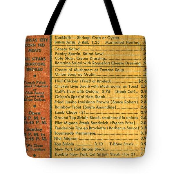 Steak House Wooden Menu Tote Bag