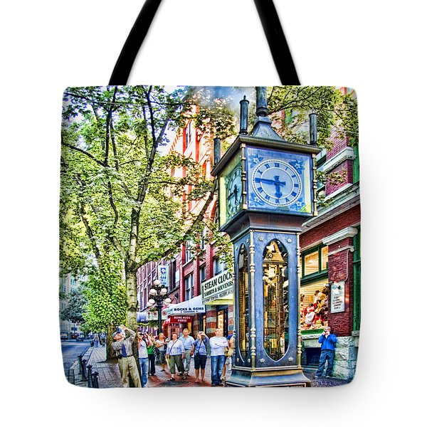 Steam Clock In Vancouver Gastown Tote Bag by David Smith
