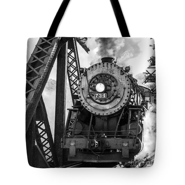 Steam Engine 734 Leaving The Narrows Tote Bag