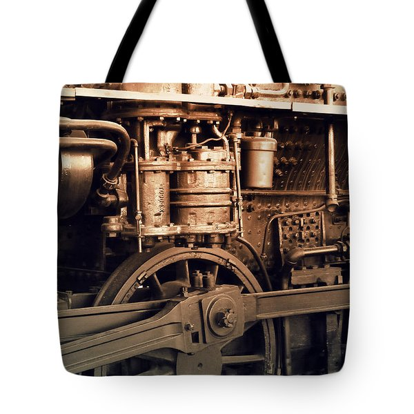 Steam Locomotive Train Detail Sepia Tote Bag