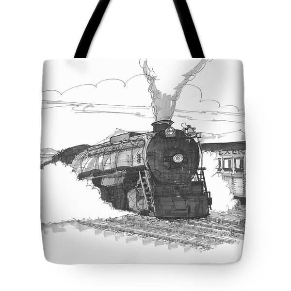 Tote Bag featuring the drawing Steam Town Scranton Locomotive by Richard Wambach