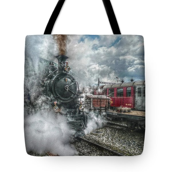 Tote Bag featuring the photograph Steam Train by Hanny Heim
