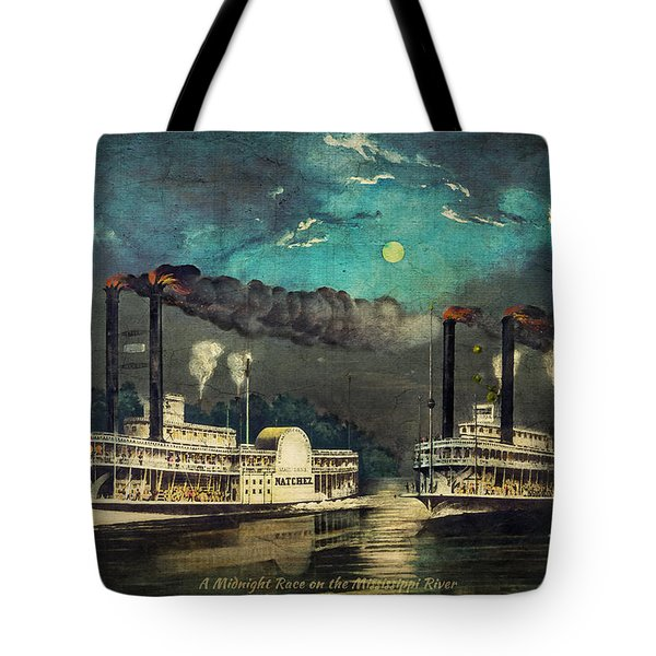 Tote Bag featuring the digital art Steamboat Racing On The Mississippi by Lianne Schneider
