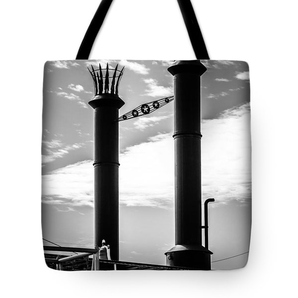 Steamboat Smokestacks Black And White Picture Tote Bag by Paul Velgos