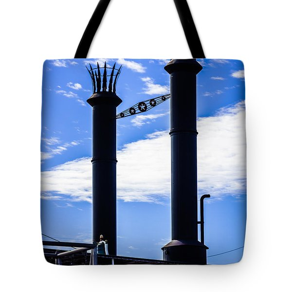 Steamboat Smokestacks On The Natchez Steam Boat Tote Bag by Paul Velgos