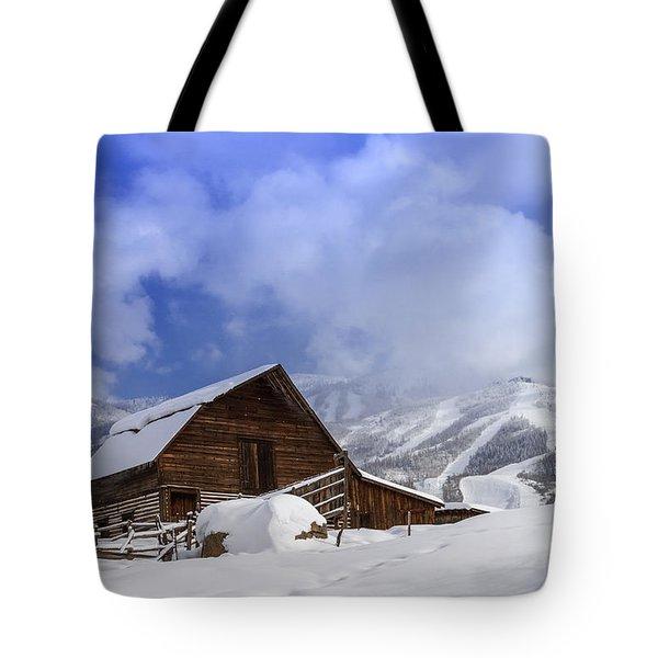 Steamboat Springs Barn History Tote Bag by Teri Virbickis