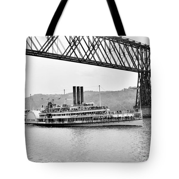 Steamer Albany Under Poughkeepsie Trestle Black And White Tote Bag