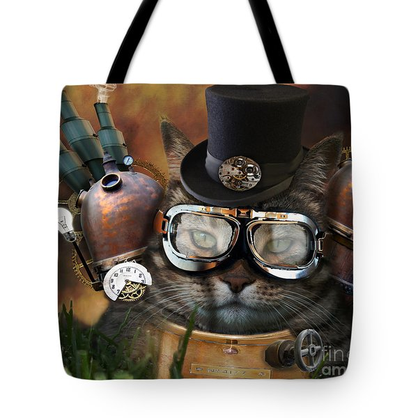 Steampunk Cat Tote Bag by Juli Scalzi