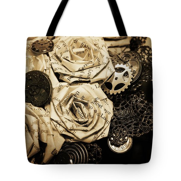 Steampunk Paper Roses Will Never Fade Tote Bag by Lisa Knechtel