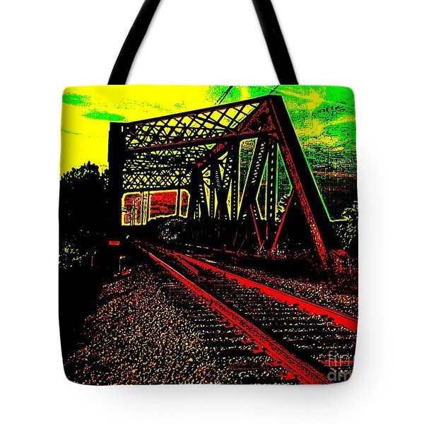 Steampunk Railroad Truss Bridge Tote Bag by Peter Gumaer Ogden