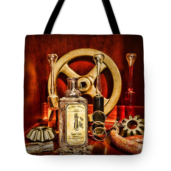 Steampunk - Spare Gears - Mechanical Tote Bag by Paul Ward