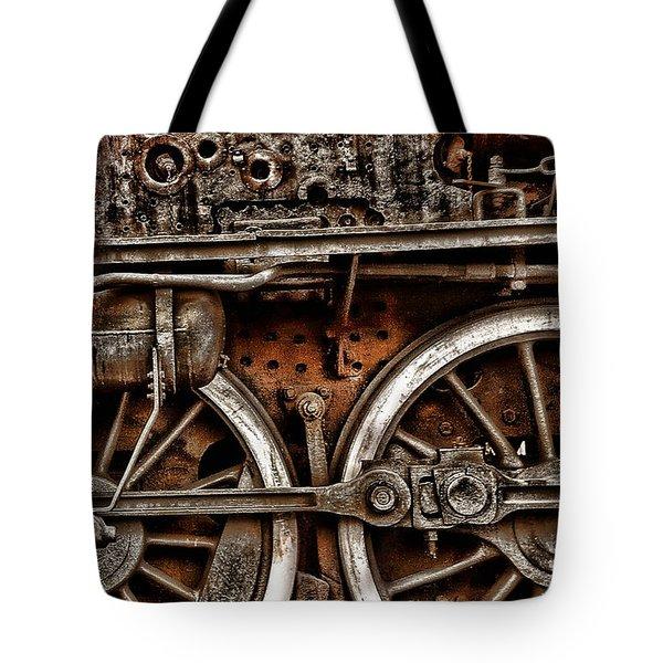 Steampunk- Wheels Locomotive Tote Bag
