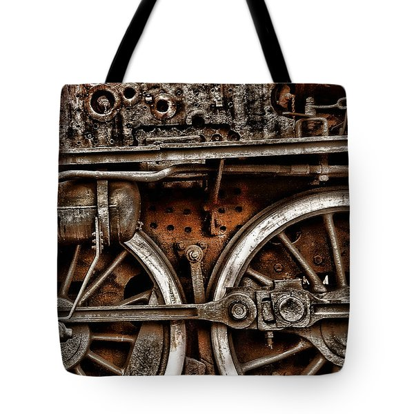 Steampunk- Wheels Locomotive Tote Bag
