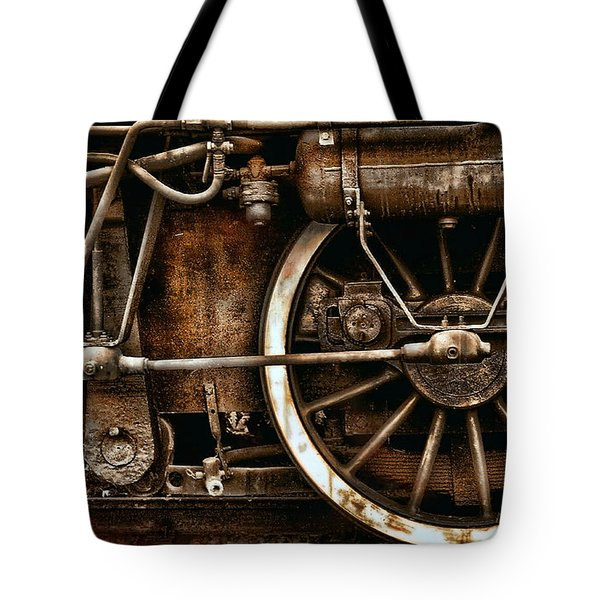 Steampunk- Wheels Of Vintage Steam Train Tote Bag