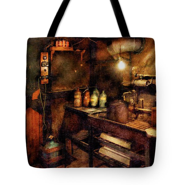 Steampunk - Where Experiments Are Done Tote Bag by Mike Savad
