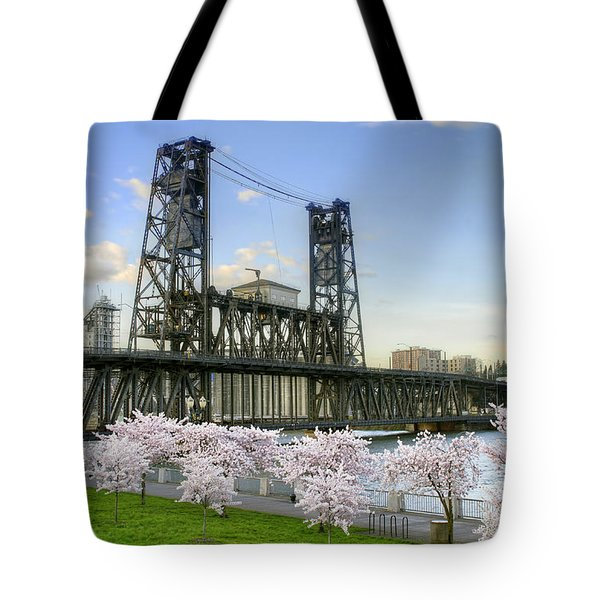 Steel Bridge And Cherry Blossom Trees In Portland Oregon Tote Bag