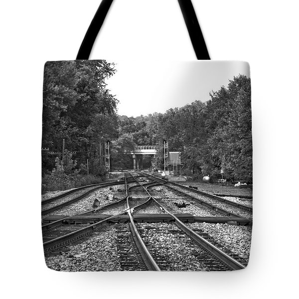 Steel Rail Intersections.   Point Of Rocks Md Tote Bag