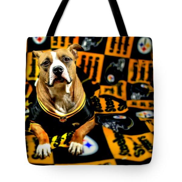 Pitbull Rescue Dog Football Fanatic Tote Bag by Shelley Neff
