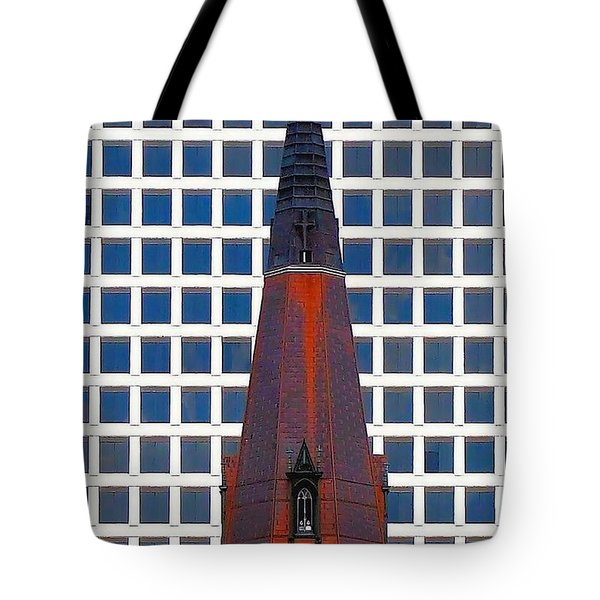 Tote Bag featuring the photograph Steeple And Office Building by Janette Boyd