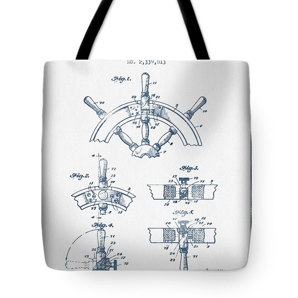 Steering Wheel Patent Drawing From 1944   -  Blue Ink Tote Bag