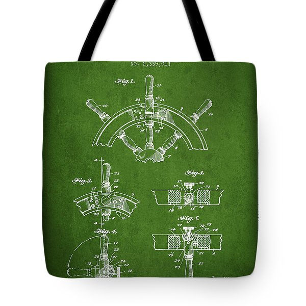 Steering Wheel Patent Drawing From 1944  - Green Tote Bag