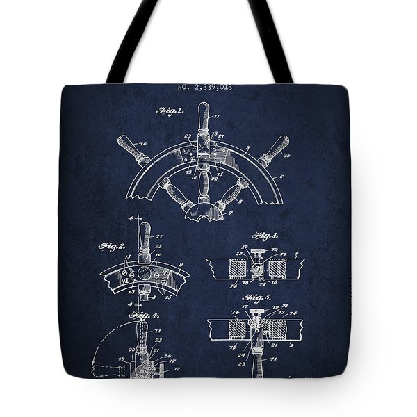 Steering Wheel Patent Drawing From 1944  - Navy Blue Tote Bag