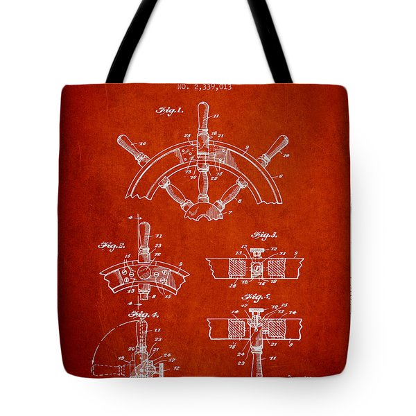 Steering Wheel Patent Drawing From 1944  - Red Tote Bag