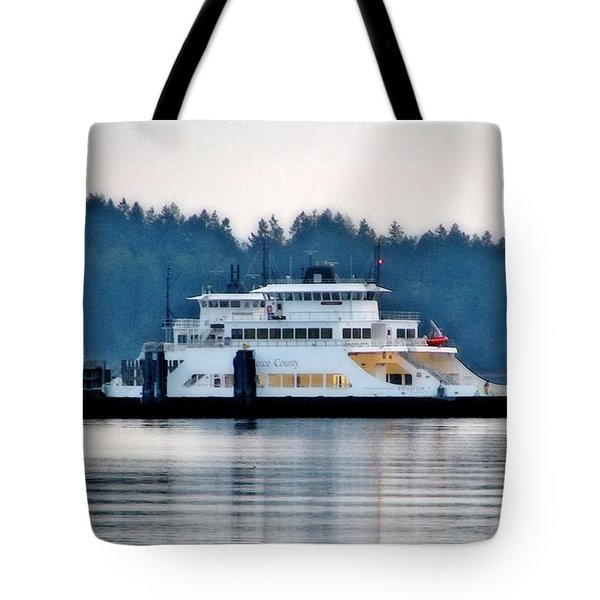 Steilacoom Ferry At Dusk Tote Bag by Chris Anderson