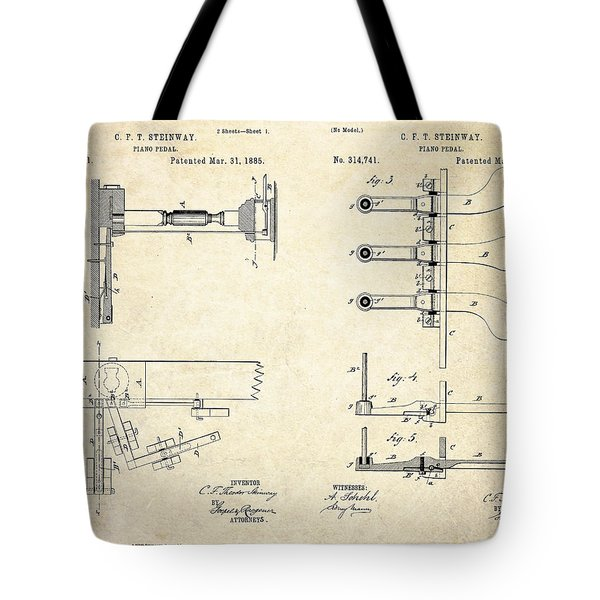 1885 Steinway Piano Pedal Patent Art Tote Bag